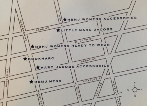 mapa das lojas do Marc Jacobs em West Village - Nova York