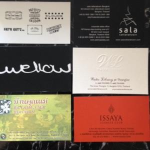 Alguns cartões de visita que trouxe de lá.